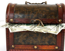 Kista med pengar