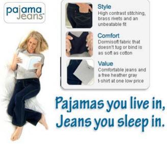 Reklambild för jeans som känns som pyjamas