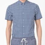 Blått småmönster matchande shorts och skjorta