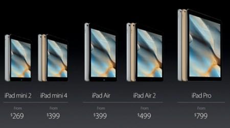 iPad mini 4 i sällskap med de andra modellerna